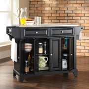 Crosley Newport Kitchen Island with Stainless Steel Top; Black