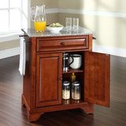 Crosley LaFayette Kitchen Cart with Granite Top; Classic Cherry