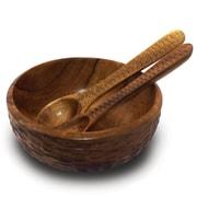 Enrico Casual Dining Salad Bowl; Natural Lacquer