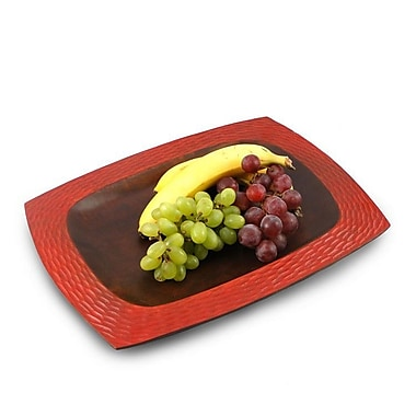 Enrico Casual Dining Platter; Brick Red and Dark Brown Lacquer