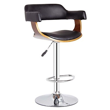 Cathay Importers Walnut Bentwood Black Faux Leather Swivel Counter/Bar Stool with Chrome Base, 20