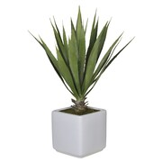 House of Silk Flowers Artificial Desk Top Plant in Vase; White