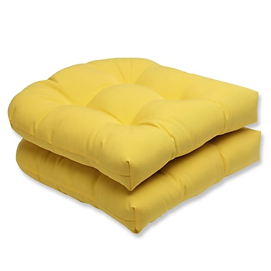 Pillow Perfect Fresco Outdoor Dining Chair Cushion (Set of 2); Yellow