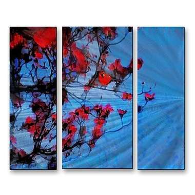 All My Walls 'The Red Dogwood' by Gina Signore 3 Piece Painting Print Plaque Set