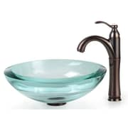 Kraus Clear Glass 0.75'' Vessel Sink and Riviera Faucet; Oil Rubbed Bronze