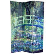Oriental Furniture 72'' x 48'' Double Sided Works of Monet 3 Panel Room Divider I