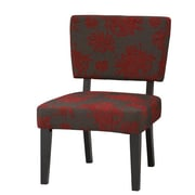 Linon Taylor Fabric Side Chair in Red & Gray
