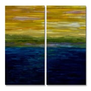 All My Walls 'Sunset' by Michelle Calkins 2 Piece Painting Print Plaque Set in Gold and Pink