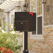 Architectural Mailboxes Oasis Post Mounted / Pedestal Mounted Mailbox with Lock; Black