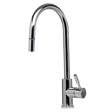 Alfi Brand Single Handle Deck Mount Pull Down Kitchen Faucet; Polished Stainless Steel