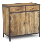 Timbergirl Industrial Reclaimed Wood and Iron 2 Drawer Sideboard Cabinet