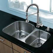 Vigo Platinum 31.5'' x 20.5'' Undermount Stainless Steel Kitchen Sink with Faucet; Stainless Steel