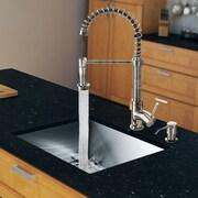 Vigo 23'' x 20'' Single Bowl Kitchen Sink with Sprayer Faucet; Stainless Steel