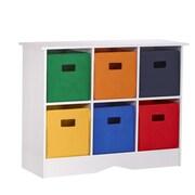 RiverRidge Kids RiverRidge Kids 6 Compartment Storage Cabinet Cubby; White / Bright Bins