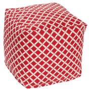 OC Fun Saks Bamboo Bean Bag Cube Ottoman; Red