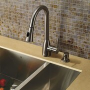 Vigo Aylesbury Single Handle Pull-Down Spray Kitchen Faucet with Soap Dispenser; Stainless Steel