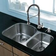 Vigo Platinum 31.5'' x 20.5'' Undermount Stainless Steel Kitchen Sink with Faucet; Chrome