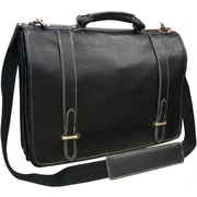 AmeriLeather Traditional Leather  Double Slip-in Executive Briefcase; Black