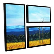 ArtWall Serene Mountain Tops by Gene Foust 3 Piece Floater Framed Painting Print on Canvas Set
