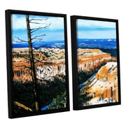 ArtWall Mountain Tops Sky by Gene Foust 2 Piece Floater Framed Painting Print on Canvas Set