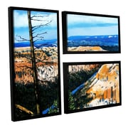 ArtWall Mountain Tops Sky by Gene Foust 3 Piece Floater Framed Painting Print on Canvas Set
