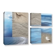 ArtWall Sand Sea by Cora Niele 3 Piece Wall Art on Wrapped Canvas Set