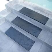 Rubber-Cal, Inc. ''Diamond-Plate'' Step Non-Slip Rubber Stair Tread Mat (Set of 6)
