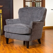 Home Loft Concepts Waldorf Diamond Tufted Club Chair; Dark Grey