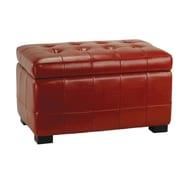 Safavieh Leather Ottoman; Red