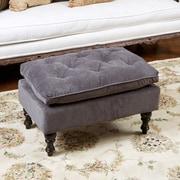 Home Loft Concepts Cameron Tufted Ottoman; Charcoal Grey