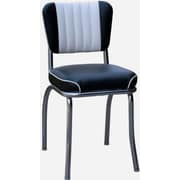 Richardson Seating Retro Home Side Chair with Two Toned Channel Back; Black