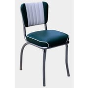 Richardson Seating Retro Home Side Chair with Two Toned Channel Back; Green