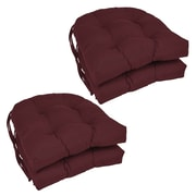 Blazing Needles Dining Chair Cushion (Set of 4); Burgundy