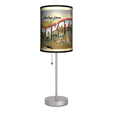 Lamp-In-A-Box Travel North Dakota Postcard 20'' Table Lamp
