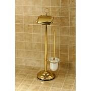 Kingston Brass Vintage Free Standing Pedestal Toilet Paper and Brush Holder; Polished Brass