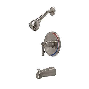 Premier Faucet Wellington Single Handle Volume Control Tub and Shower Faucet; Brushed Nickel