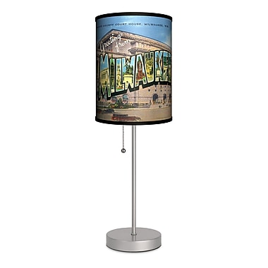 Lamp-In-A-Box Travel Milwaukee Postcard 20'' Table Lamp
