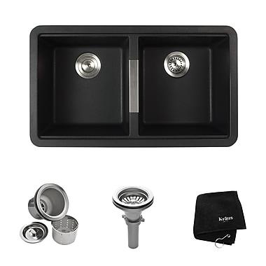 Kraus 33'' x 18.94'' Undermount 50/50 Double Bowl Granite Kitchen Sink