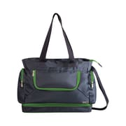 Picnic Time Beach Tote; Grey / Lime