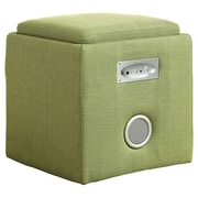 Hokku Designs Reverb Cube Ottoman with Bluetooth Speakers; Green
