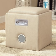 Hokku Designs Reverb Cube Ottoman with Bluetooth Speakers; Ivory