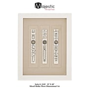 Majestic Mirror White and Beige Rectangular Framed 3D Abstract Wall Art