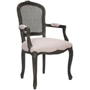 Safavieh Cindy Arm Chair; Linen - Beige with Silver Nailheads