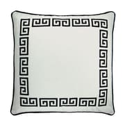 NECTARmodern Greek Key Embroidered Throw Pillow; White / Black
