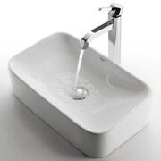 Kraus Ceramic Rectangular Bathroom Sink with Ramus Single Lever Faucet; Chrome