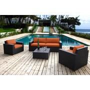 Bellini Pasadina 5 Piece Deep Seating Group with Cushions; Orange