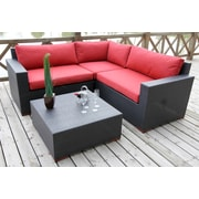 Bellini Pasadina Conversation Sectional 4 Piece Deep Seating Group with Cushions; Red