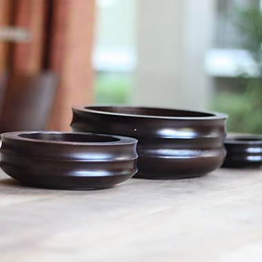 Timbergirl Acacia Wood Decorative Bowl 3 Piece Set; Dark Brown