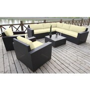 Bellini Pasadina Conversation Sectional 8 Piece Deep Seating Group with Cushions; Ivory