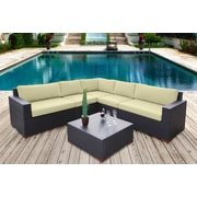Bellini Pasadina Conversation Sectional 6 Piece Deep Seating Group with Cushions; Ivory